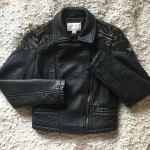 Black Faux Leather Moto Jacket w/ Tribal Panel Sm